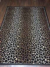 Modern Approx 7x5 150x210cm Woven Leopard print Rug Sale Top Quality Black/Beige